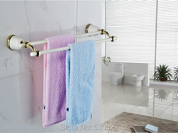 New US Free Shipping Wholesale And Retail Dual Tiers White Painting Baked Bathroom Towel Bar Towel Shelf Rack Wall Mounted(China (Mainland))