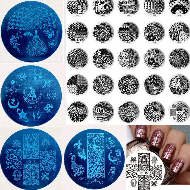Pop 10pcs JQ Series(75 Styles For Choose) Nail Art Stamp Stamping Plates Manicure Template + Free Shipping(China (Mainland))