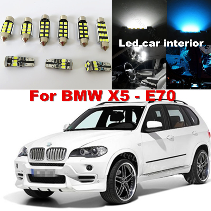 20x Canbus Pure White Error Car Dome Vanity Puddle Footwell Trunk Light LED Interior lighting Kit BMW X5 E70 2007 - 2013 WLJH Carparts Store store