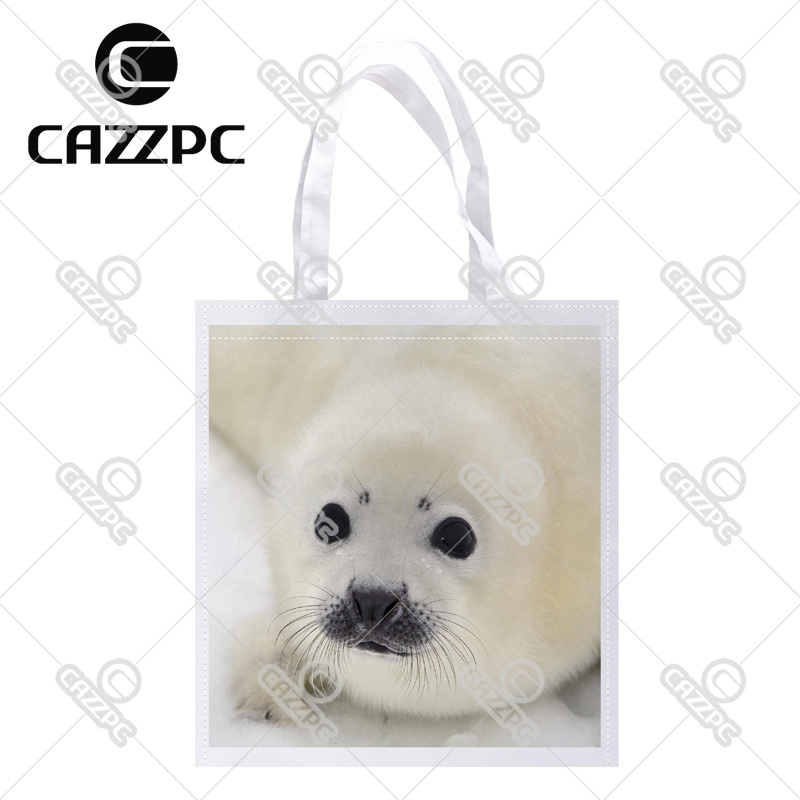 Baby Harp Seal Pup On Ice of The White Sea Print Custom Non-Woven Fabric Reausble Grocery Shipping Storage bag Pack of 4()