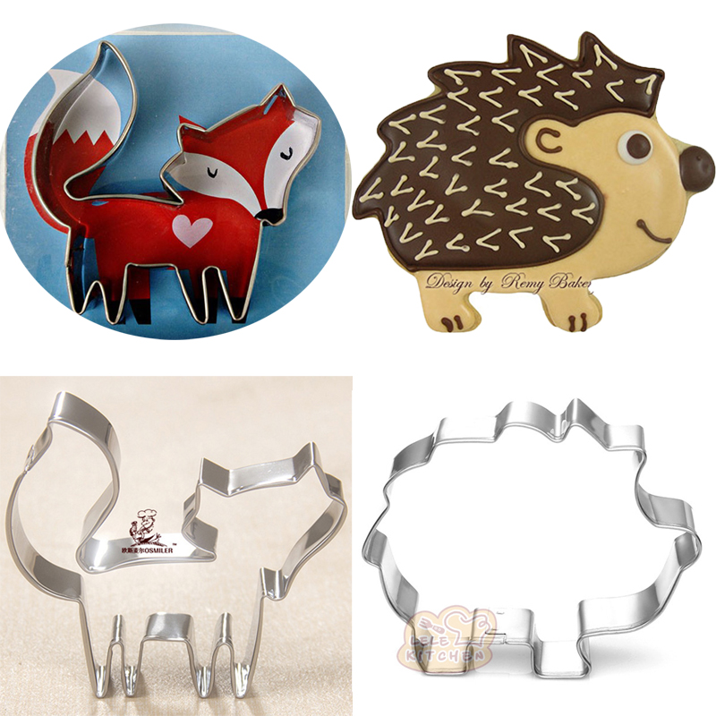2pcs cartoon hedgehog metal cookie cutters Fox pastry desserts decoration cake tools cupcake candy molds biscuit cutter(China (Mainland))
