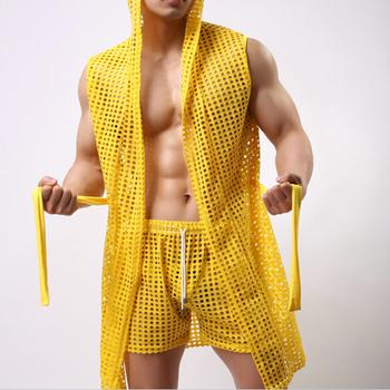 Халат мужчины лето сексуальный халат человек для дома гей вилочная часть секс милый ...