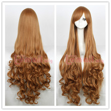 High Quality 100cm long light brown wave curly women cosplay party hair full wig queen brazilian made wigs