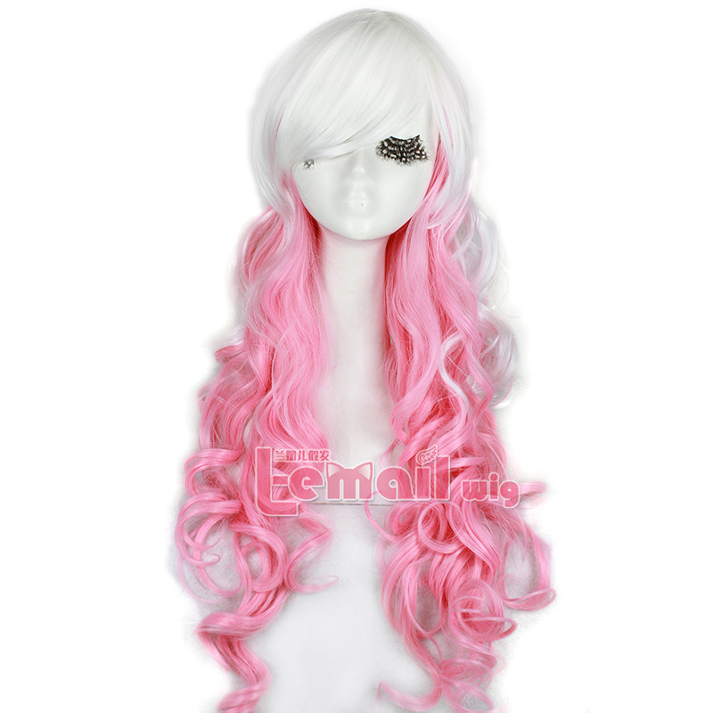 2016 New Arrival 65cm Long Wavy Classical Mix White Pink Omber Lolita Cosplay Wig C54(China (Mainland))