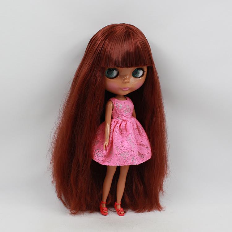Baby big eyes doll black skin nude 11.5 fashions doll coppery red bangs long hair modified cute bjd dolls cute<br><br>Aliexpress