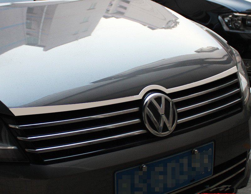 High quality Stainless Steel Decoration Front car hood cover trim one pcs for Volkswagen vw