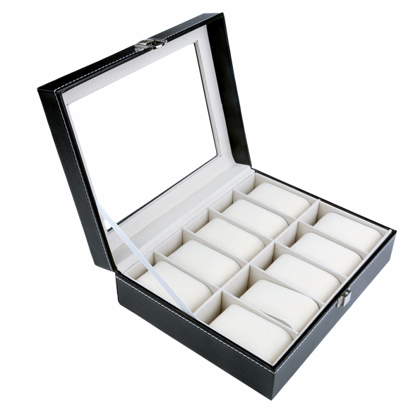 Luxury Brand PU Leather Watch Display Box 10 Grid Watch Case Jewelry Storage Organizer Discount Promotion(China (Mainland))