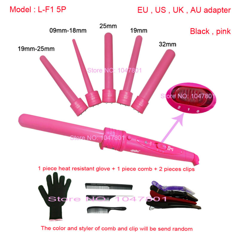 Hot 410F 5 Part Hair Curling Iron Machine The Wand Interchangeable Hair Style Tool 5 in 1 Curling Wand 5P Ceramic Hair Curler   (China (Mainland))
