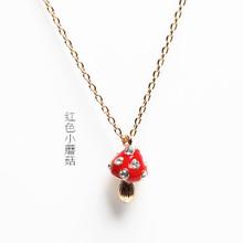 Wholesale Jewelry Sweet Chic Enamel Rhinestone Mushroom Necklace Women Bijoux Designer Collare Collier Pop Cute Korea Fancy 5738(China (Mainland))