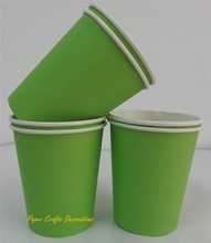 24pcs/lot 9OZ Solid Apple Green Color Pastel Party Paper Cups Drinking Thanksgiving Holiday Decorations Party Supplies(China (Mainland))