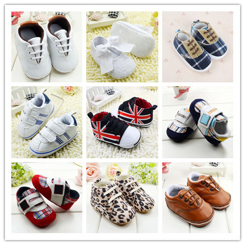 Anti-slip Soft Sole Sneakers 3-18M Baby Boy Girls Crib Shoes Faux PU Leather Cotton(China (Mainland))
