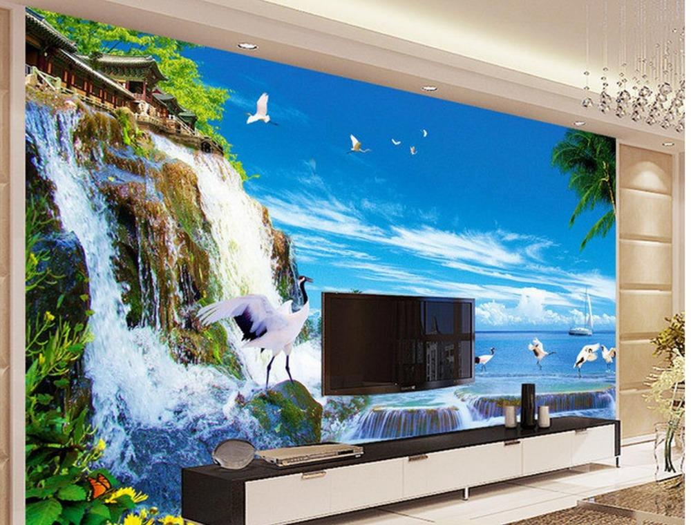 Custom photo wallpaper large 3d sofa tv background for Custom photo mural wallpaper