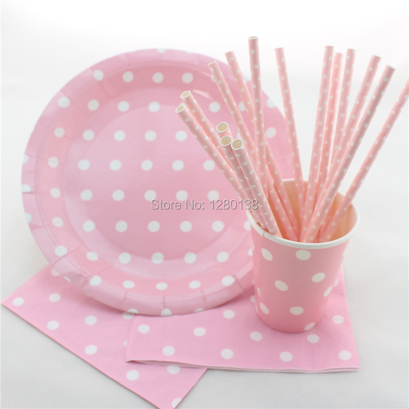 tableware polka dot design party paper plates coffee cups baby shower