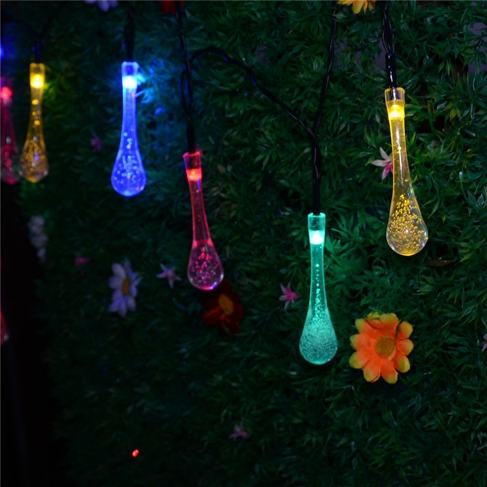 Solar String Lights Outdoor Patio : Solar Powered String Lights 5M 20 LED Water drop styled for Outdoor Garden Fence Patio Christmas ...