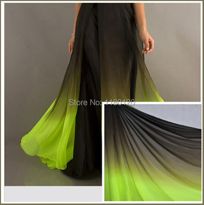 high grade chiffon material for Dancing black neon green shade tissue material evening dress fashion chiffon fabric(China (Mainland))