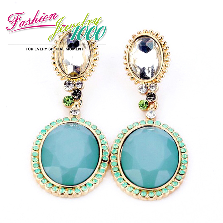 Buy new fashion vintage blue crystal drop for Costume jewelry for evening gowns