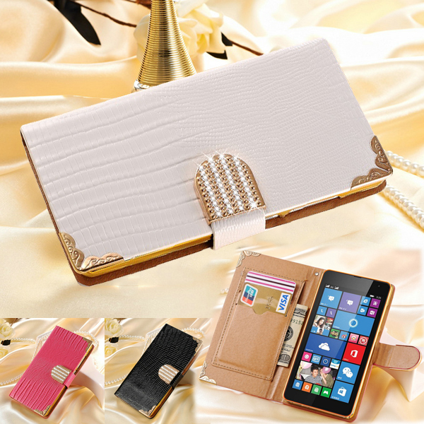 Luxury 535 Bling PU Leather Case For Nokia Lumia 535 Wallet Crystal New Mobile Bags Rhinestone Cover Phone Cases For Lumia 535(China (Mainland))