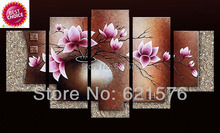 Hand painted modern wall art picture living room home decor abstract Lilac Kapok flower group oil painting on canvas framed(China (Mainland))