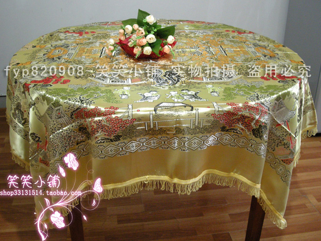 Business gift chinese style woven damask square table round table cloth tablecloth(China (Mainland))