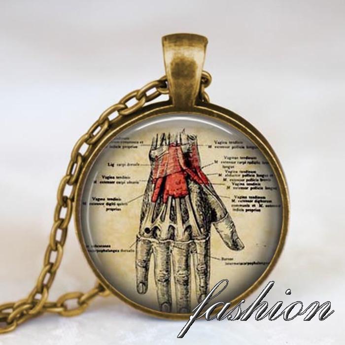 Hand Anatomy pendant, Human hand Anatomy Necklace, Hand skeleton bones picture pendant, medical student , doctor nurse gift idea