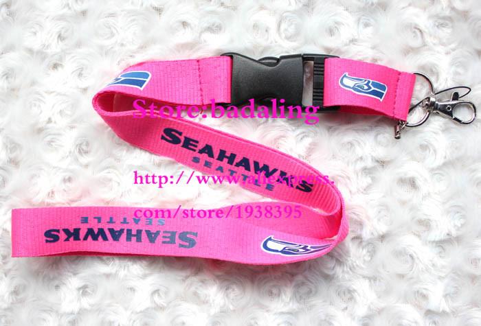 Wholesale 10 pcs Fashion pink Seahawks football neck lanyard key chains work card holders lanyard Free shipping(China (Mainland))