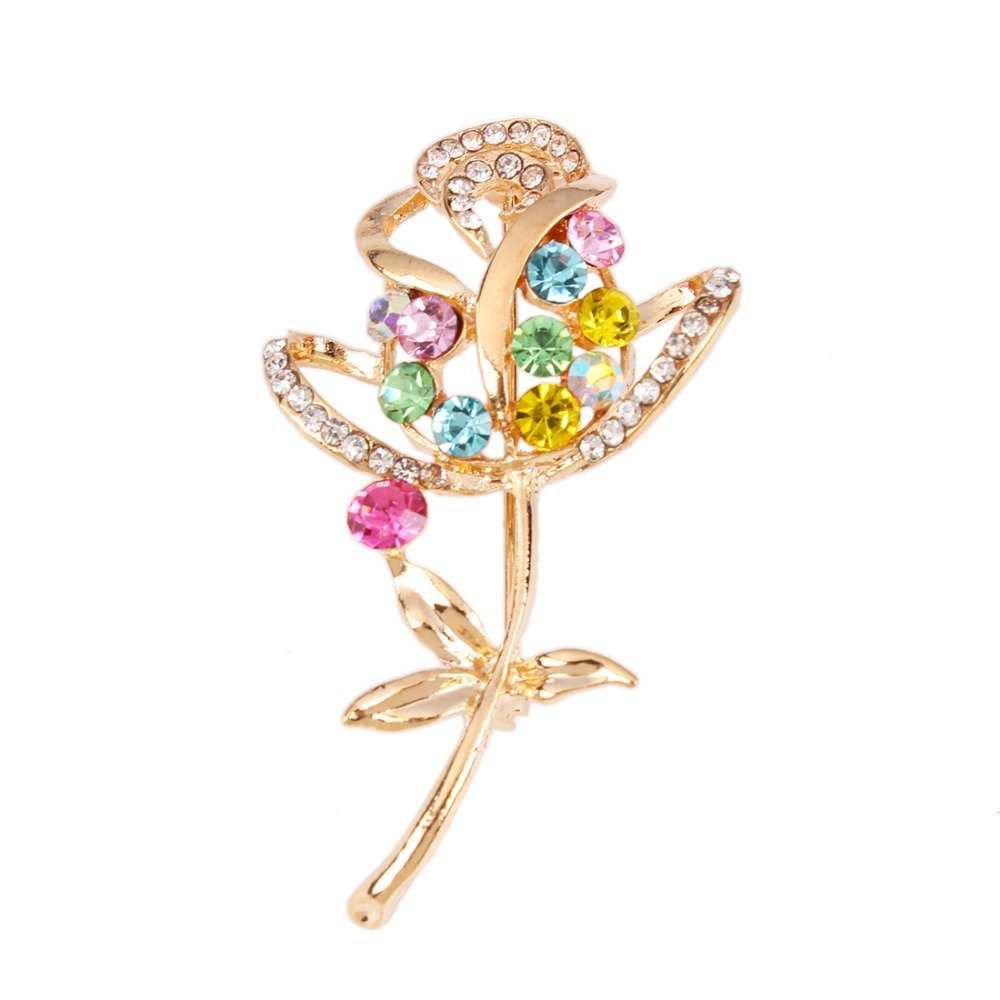 Hot Sale Flower Shape Imitation Diamond and Alloy Material Brooches for Wedding Bouquets X0046(China (Mainland))
