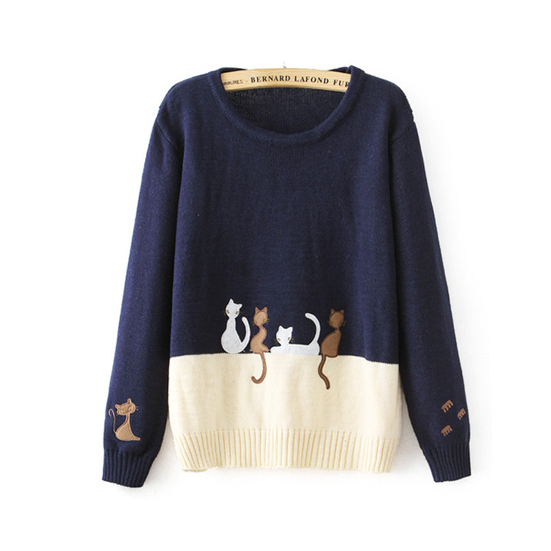 Women Cartoon Cat Embroidery Sweater 2015 Mori Girl Cotton Spell Color Pullover Long Sleeve O Neck Cat Embroidery Knit Sweater(China (Mainland))