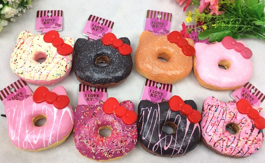 Hello Kitty Donut Squishy Size : 16pcs/lot 12cm original package hello kitty squishy rare Jumbo Donut cell phone Strap Charm cute ...