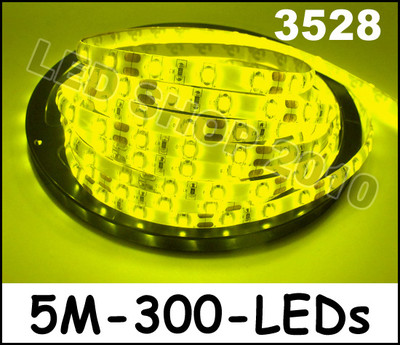 Wholesale!! 5 X 5M  Car Yellow 3528 SMD LED Waterproof Flexible Strip 12V 300 LEDs free shipping<br><br>Aliexpress