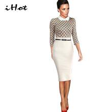 2016 New 3/4 sleeve Fashion Victoria Beckham British style stitching Office tartan clothing Women Tunic dresses Party vestidos