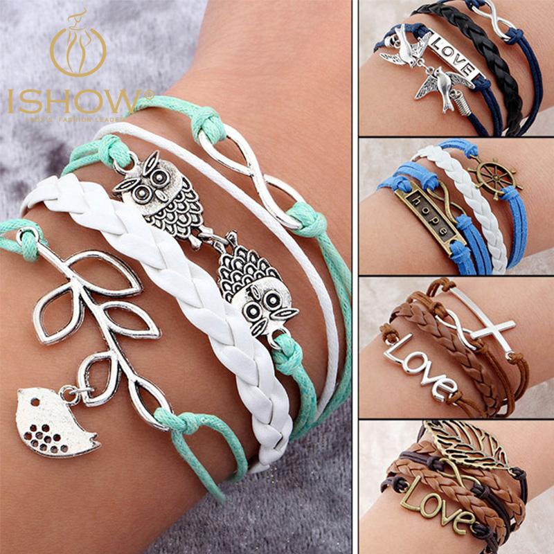 Juegos Del Hambre Vintage Bird Owls Anchor Bracelets Wrap Leather Bracelet Charm bracelets pulseira couro bracelets for women(China (Mainland))