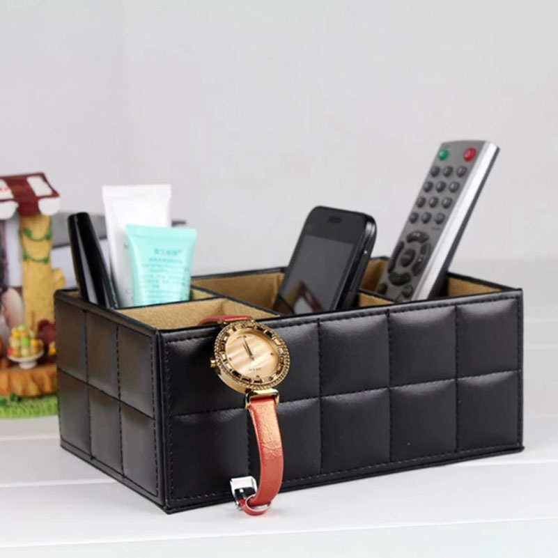 Luxury Pu Leather Remote controller TV Guide/mail/CD Organizer/caddy/Toy/holder Home Organizer container storage boxes bins(China (Mainland))
