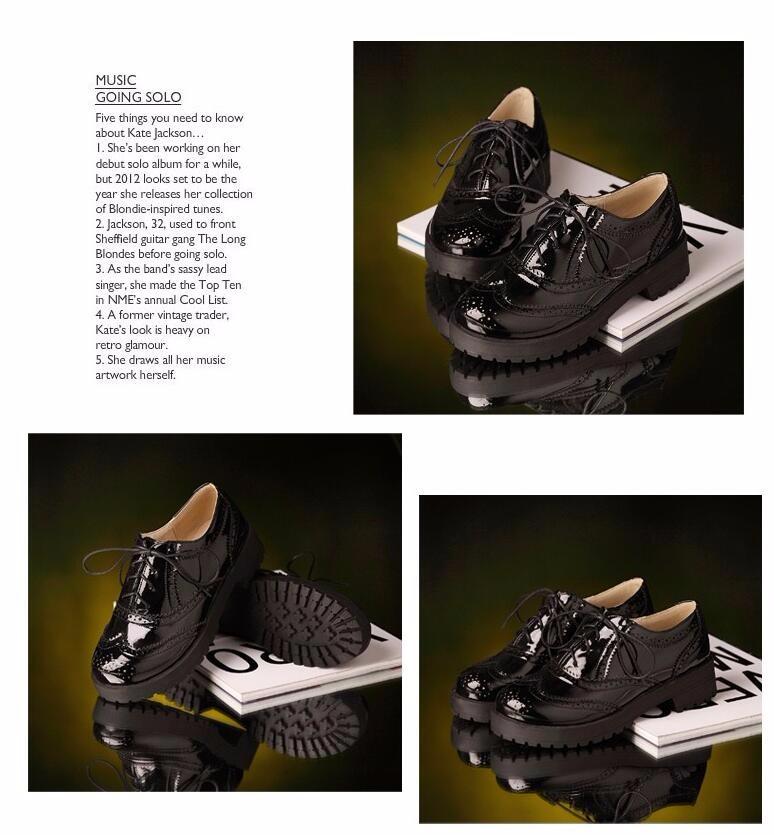 ซื้อ 2016ใหม่แฟชั่นJapannedหนังสีดำสีขาวสีลูกไม้เต้นรำแพลตฟอร์มแฟลตของผู้หญิงสี่ฤดูกาลO Xfordsรองเท้าสำหรับผู้หญิงยี่ห้อ