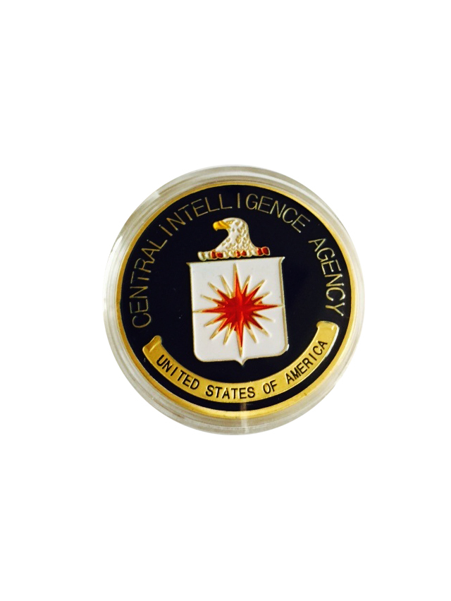 Low Price US Central Intelligence Agency Coin Colorful Pure Gold Plated Coin CIA Challenge Coin 40*3mm Military Metal Coin(China (Mainland))