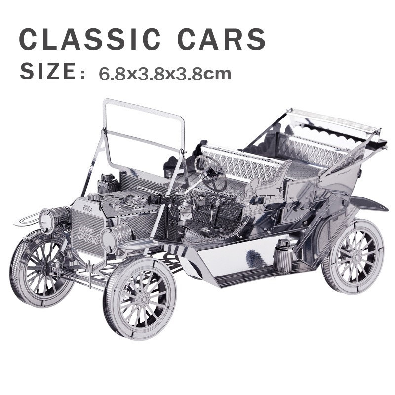 Real details New creative Retro Car 3D puzzles 3D metal model Creative DIY Ford classic cars Jigsaws Perfect details(China (Mainland))