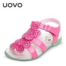 UOVO brand floral patent leather kids girl sandals princess girls sandals 2015 summer girl shoes flat sandaletten size 25-35(China (Mainland))