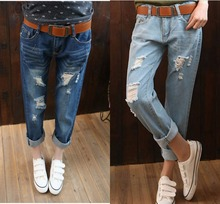 Real Pictures~2016 hot bleached jeans women loose plus hole jeans female trousers woman denim  for Cute woman Ladies