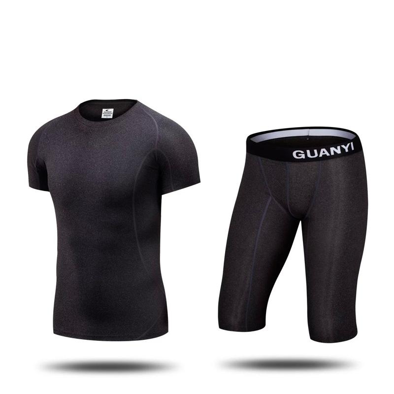 16 17 1 sets Men short sleeve jersey and shorts Gym Cycling Running sets football soccer kits adult S-3XL Tights(China (Mainland))