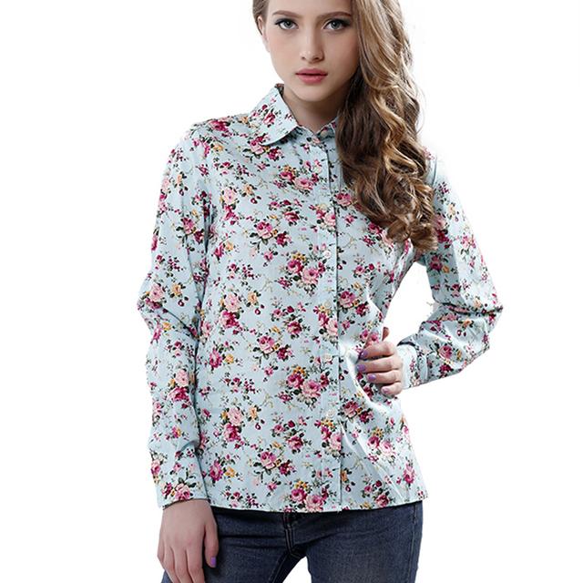 2016 новых женщин хлопка блузка с длинными рукавами печатные цветы футболки свободного ...