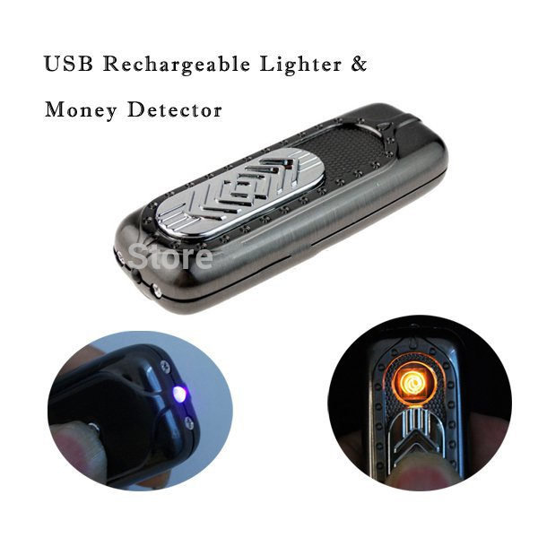 Multifunctional 2 in1 USB Lighter Rechargeable Electronic Cigar Cigarette Lighters with Money Detector(China (Mainland))