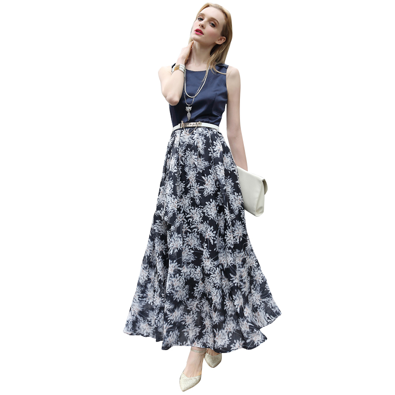 Women Plus Size Maxi Dresses 2016 New Organza Floral Print Patchwork Sleeveless Large Swing Long Summer Dress 2690(China (Mainland))
