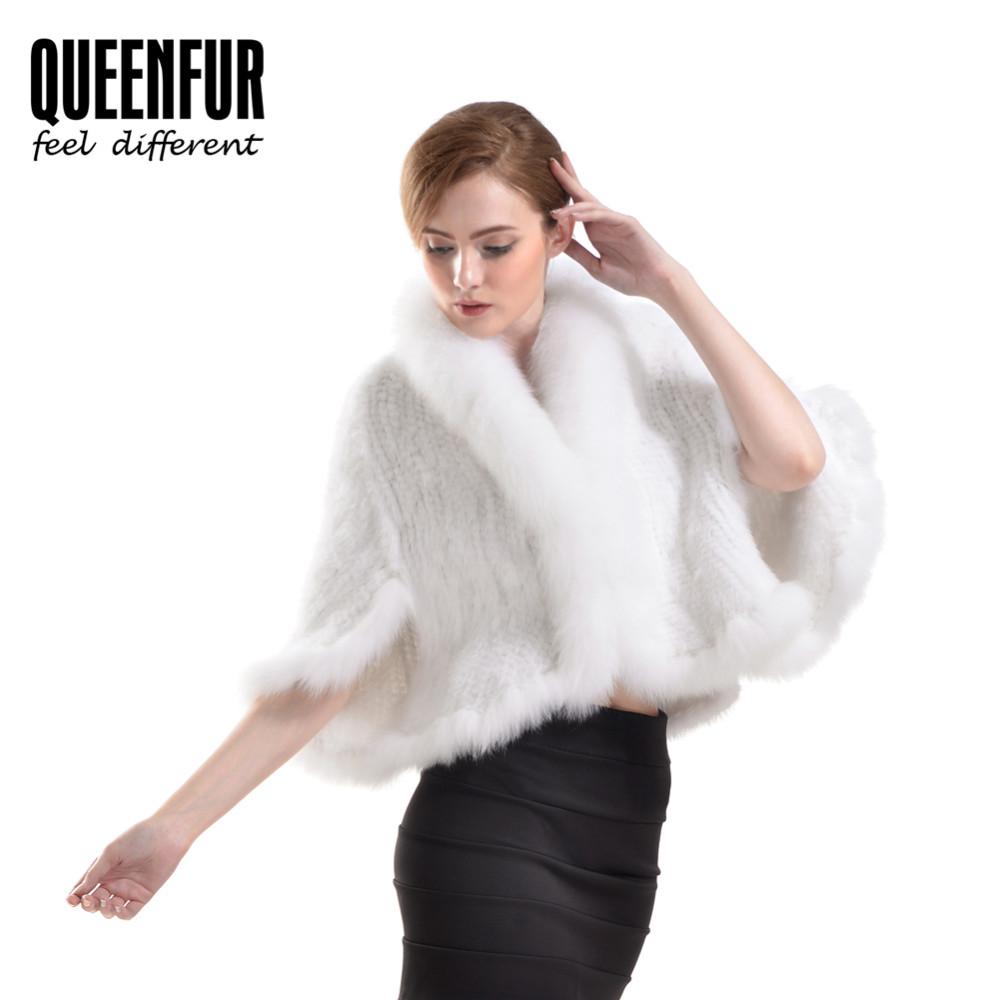 2016 New Genuine Knit Mink Fur Shawl Fox Trimming Real Mink Fur Poncho Fashion Women Mink Fur Outwear