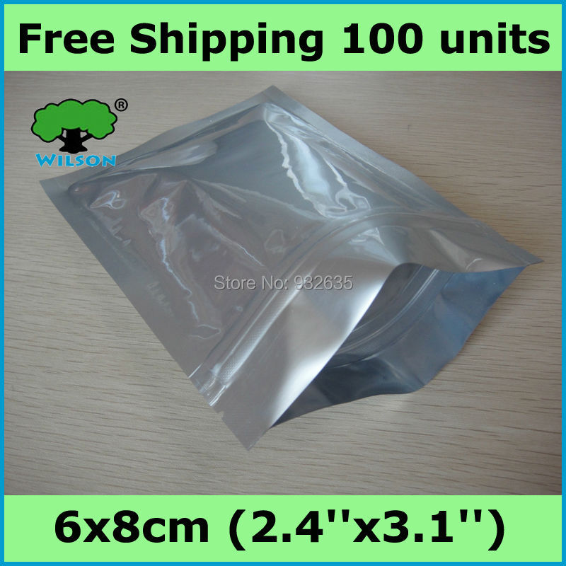6x8cm (2.4''x3.1'') one side thickness 4 mils small bag aluminum foil ziplock bag 100 pcs Free shipping(China (Mainland))