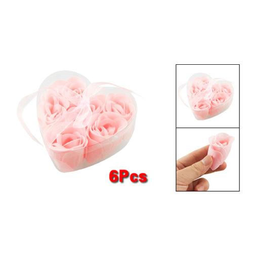 5xNew 6 Pcs Light Pink Decorative Fragrant Rose Bud Petal Soap Wedding Favor(China (Mainland))