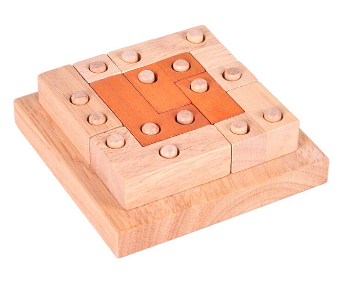 IQ Wooden Puzzle Brain Teaser Interlocking Wood Puzzles Game for Adults Children(China (Mainland))