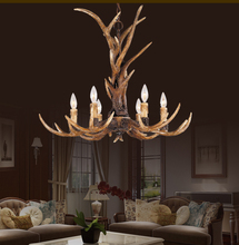 Europe Country 6 Head Candle Antler Chandelier American Retro Resin Deer Horn Lamps Home Decoration Lighting E14 110-240V(China (Mainland))