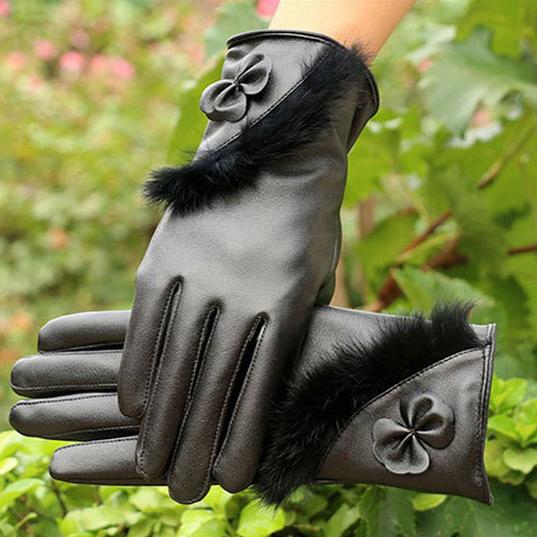 Новый 2015 элегантный кролика кожаные перчатки зимние перчатки для женщин женские варежки бантом перчатки женские перчатки