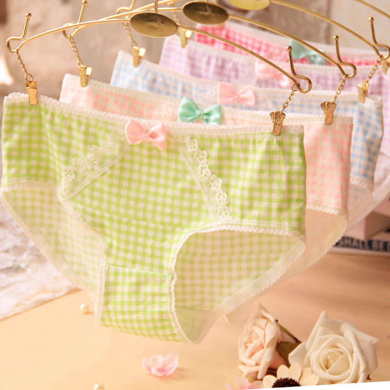 2015 Girl Series printing font b plaid b font cotton underwear women cute bow sexy lace