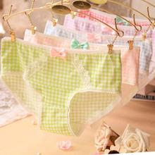 2015 Girl Series printing plaid cotton underwear women cute bow sexy lace panties Women's panties