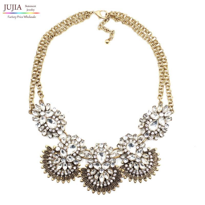 2014 New JC design wholesale women collar fashion crystal necklace &amp; pendant choker bib pendant statement Necklace for women<br><br>Aliexpress